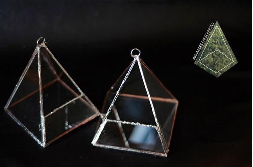 terrarios de vidrio, tiffany, pirámides energéticas
