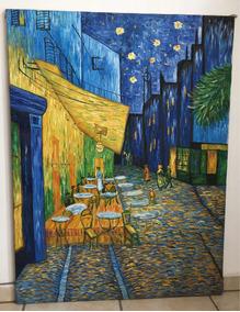 Terraza De Cafe Por La Noche óleo
