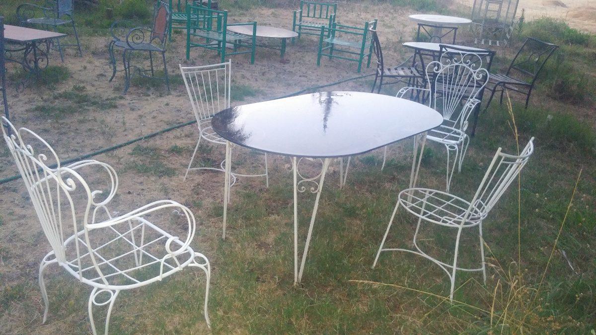 Terraza fierro forjado mesa 2 sitiales 2 sillas juego for Muebles terraza fierro