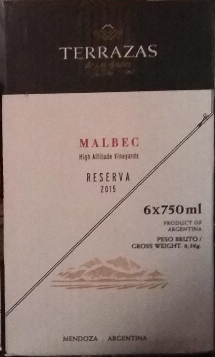 Terrazas De Los Andes Reserva Malbec 2015 Envío S C Consulta