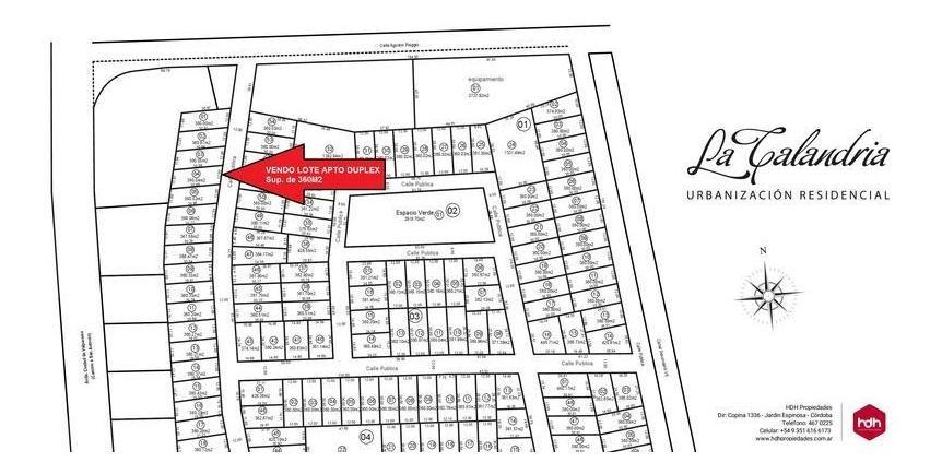 terreno 360m2 apto duplex en zona sur
