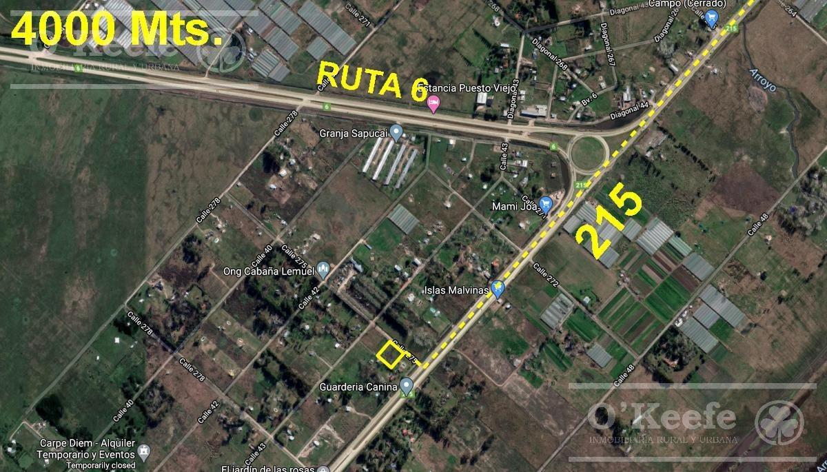 terreno 4000 mt2 - zona tranquila y de muy fácil acceso  - a 20mt de ruta 215