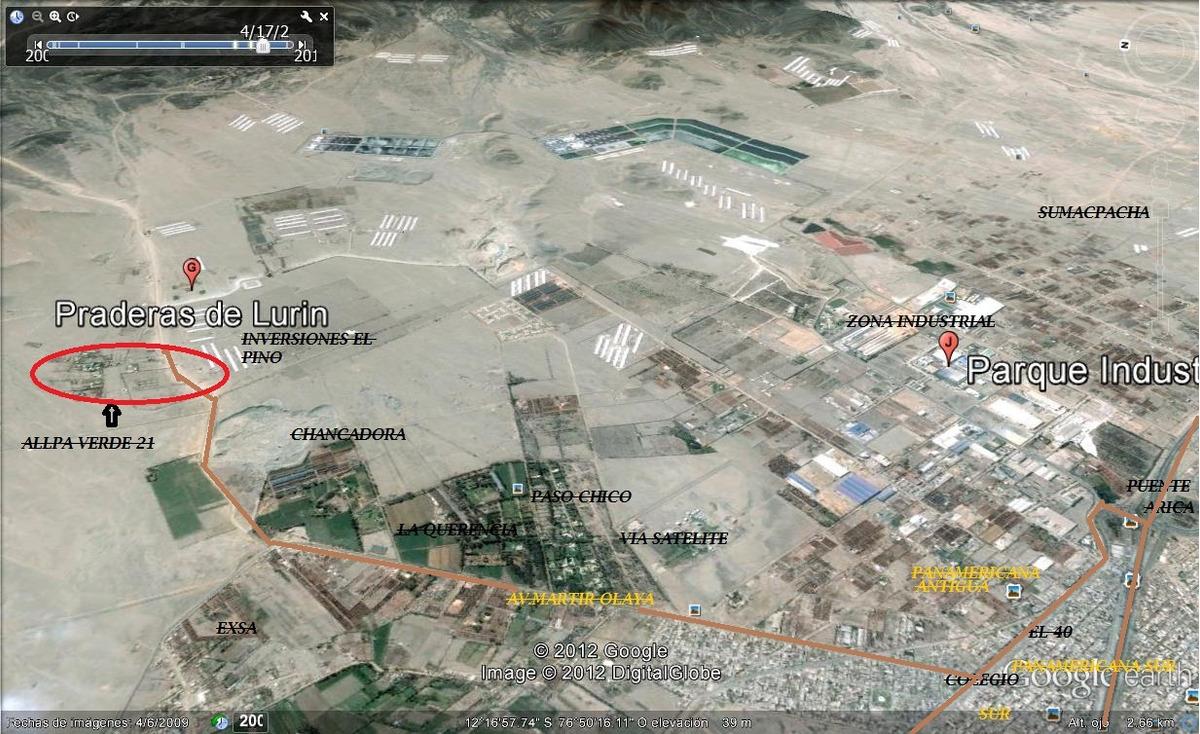 terreno 800 mts2 - fundo  allpa verde  lomas de pucara lurin