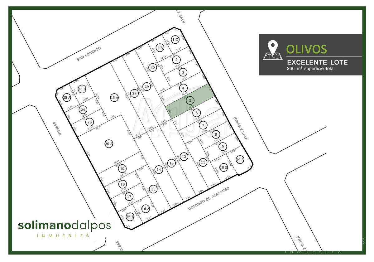 terreno 8.66 x 30.81 mts de 266 m2 - olivos