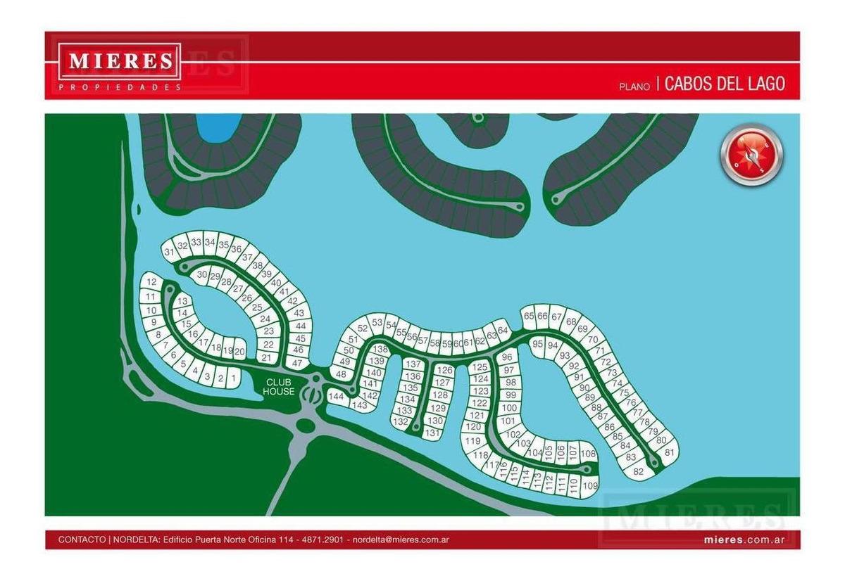 terreno al agua barrio cabos del lago - nordelta