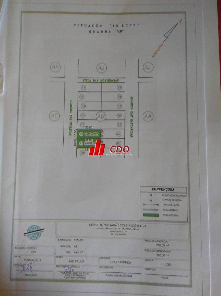 terreno com 500 m², documentação em ordem na ilha comprida  - 1083-tedg
