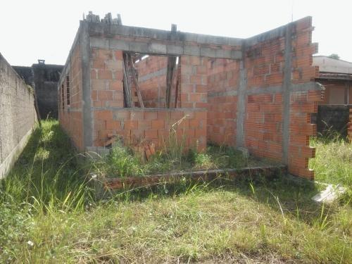 terreno com construção iniciada em itanhaém, bal. gaivota