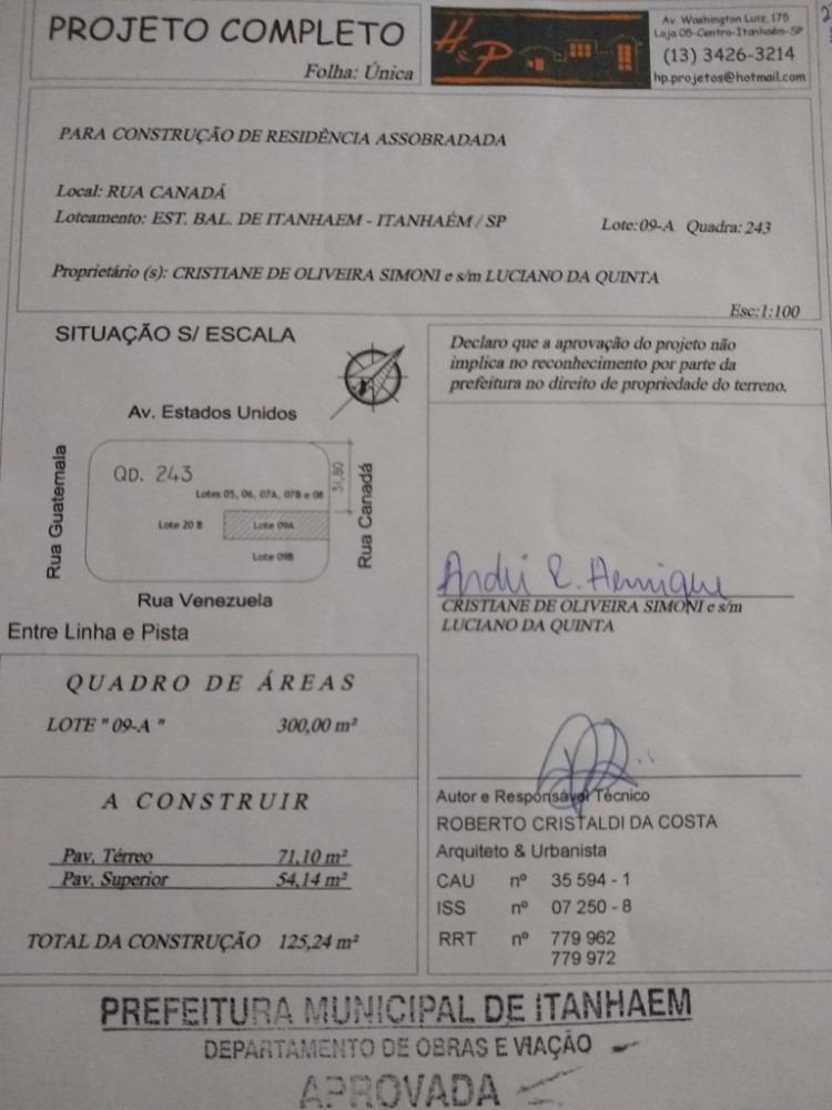terreno com planta de imóvel aprovada na prefeitura itanhaém