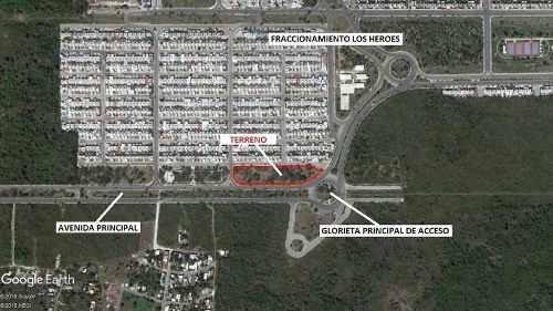 terreno comercial 7,624 m2 glorieta entrada al fracc. los héroes