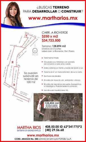 terreno comercial en venta carretera a rioverde