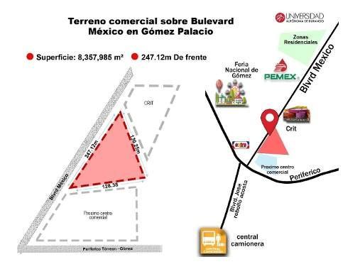 terreno comercial en venta en boulevard mexico en gomez palacio