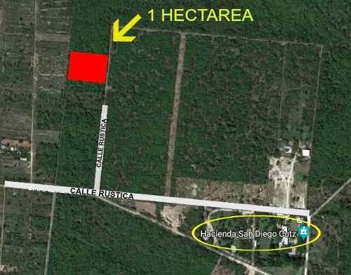 terreno de 1 hectarea cerca de desarrollos residenciales al norte de merida.