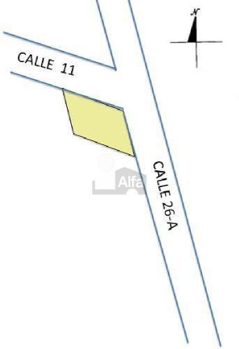 terreno de 1050 m2 en motul. con 21.5 m. de frente, en esquina