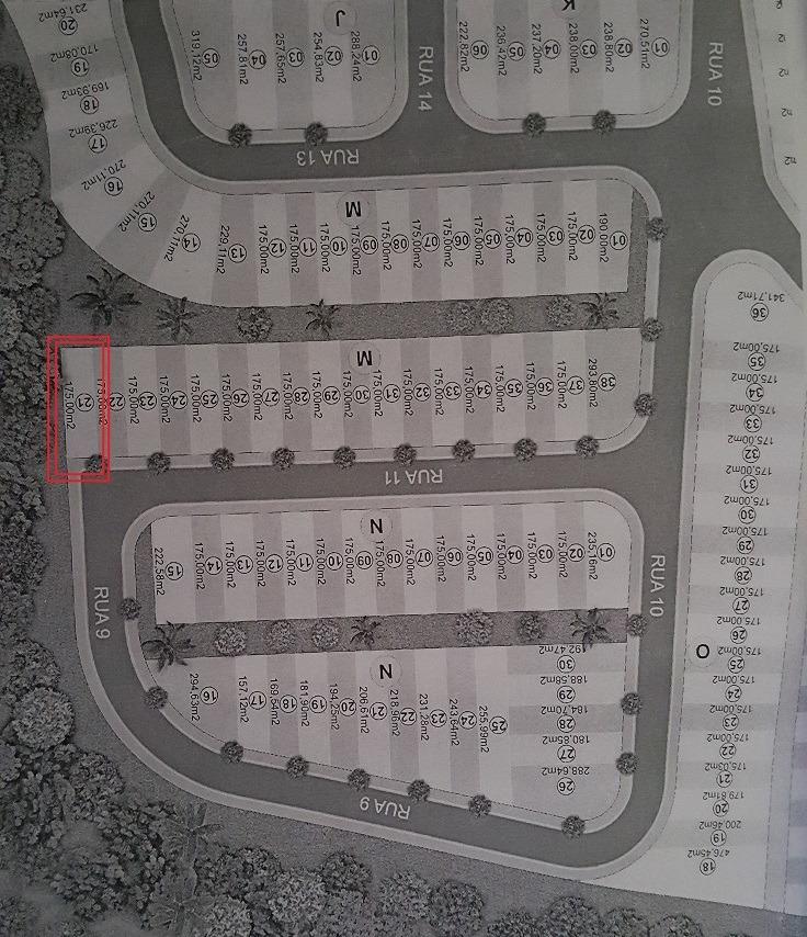terreno de 175m2 no loteamento praça da juventurde ( plano )