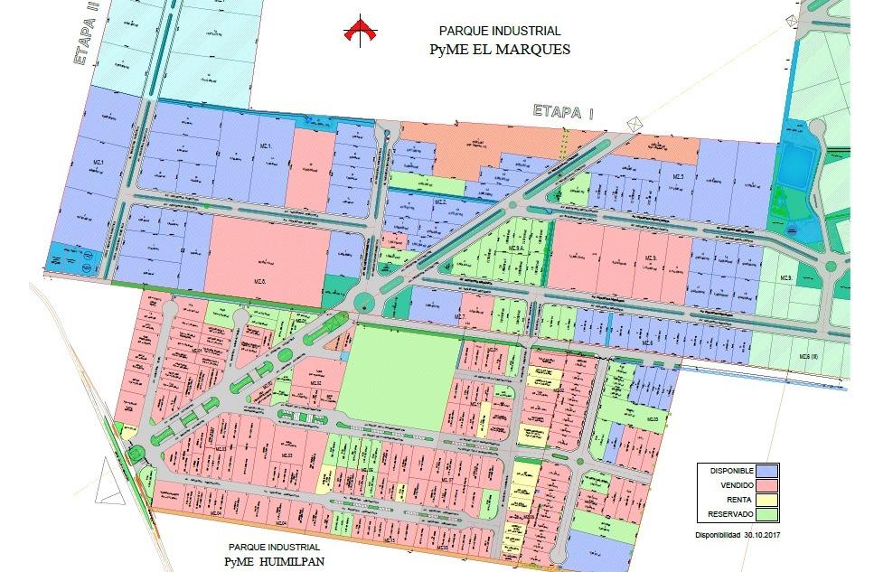 terreno de 1856m2 en parque industrial pyme