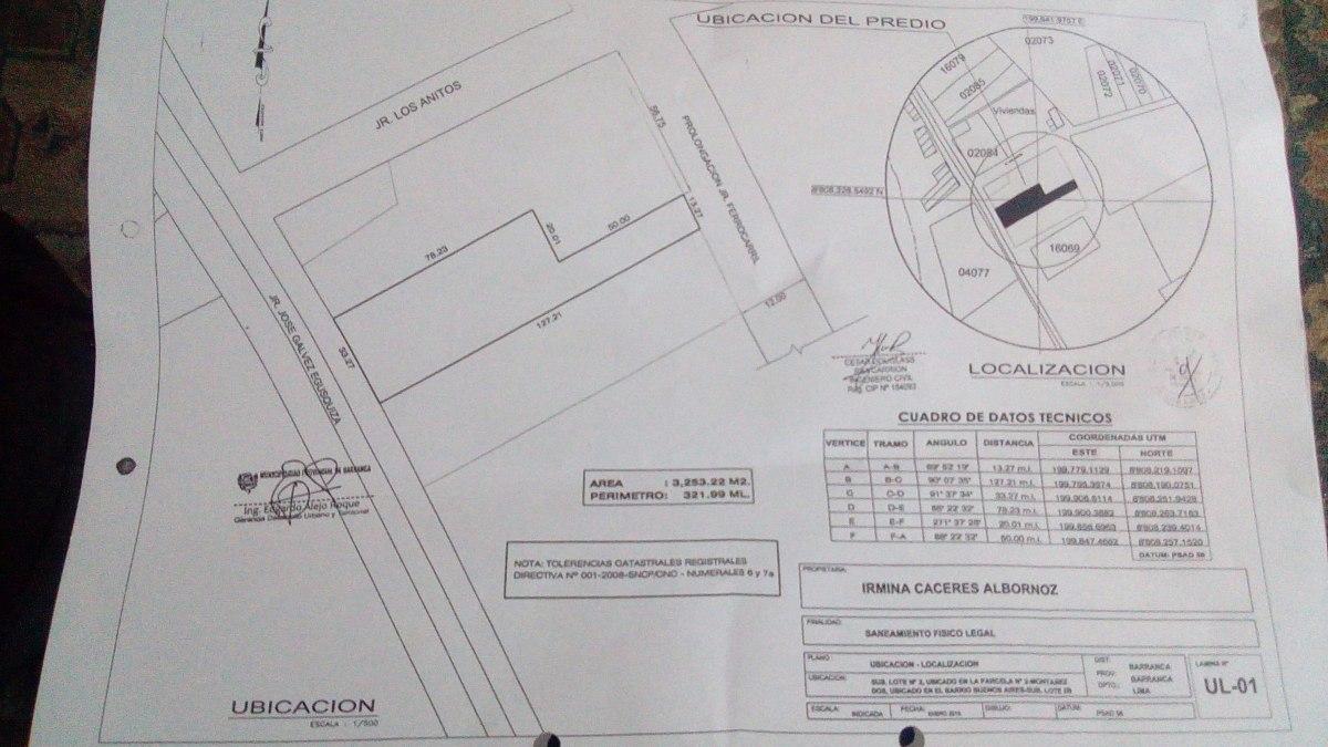terreno de 3253 m2 con doble ingreso