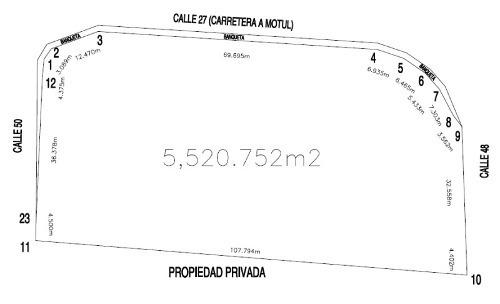 terreno de uso mixto de 5,520.75m2 en motul yucatan