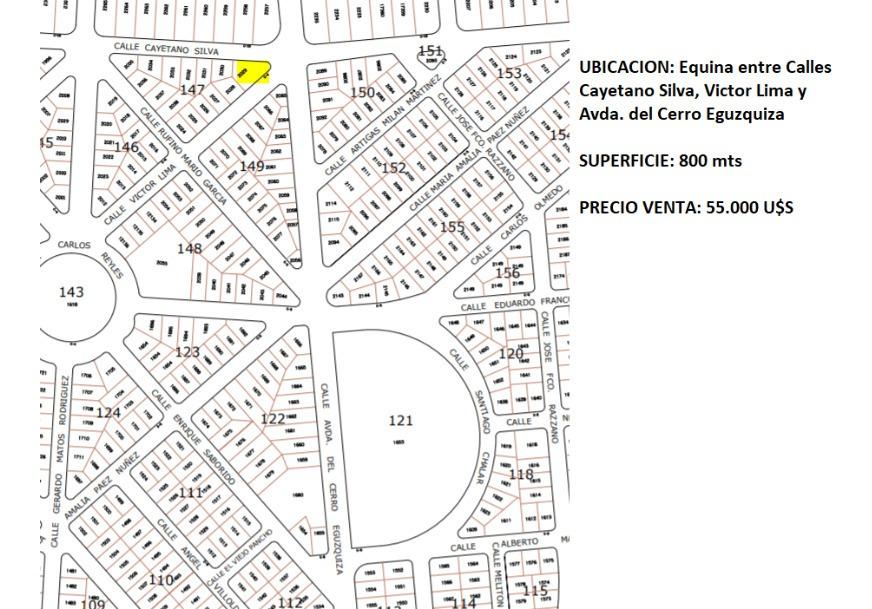 terreno el tesoro 806 mts- avenida del cerro eguzquiza