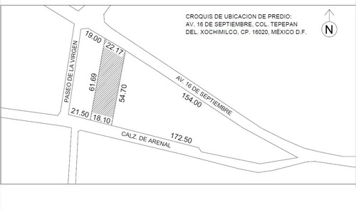 terreno en santa maria tepepan en 16 de septiembre