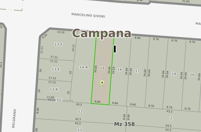 terreno en venta 300 m2 en campana centro. ideal inversión