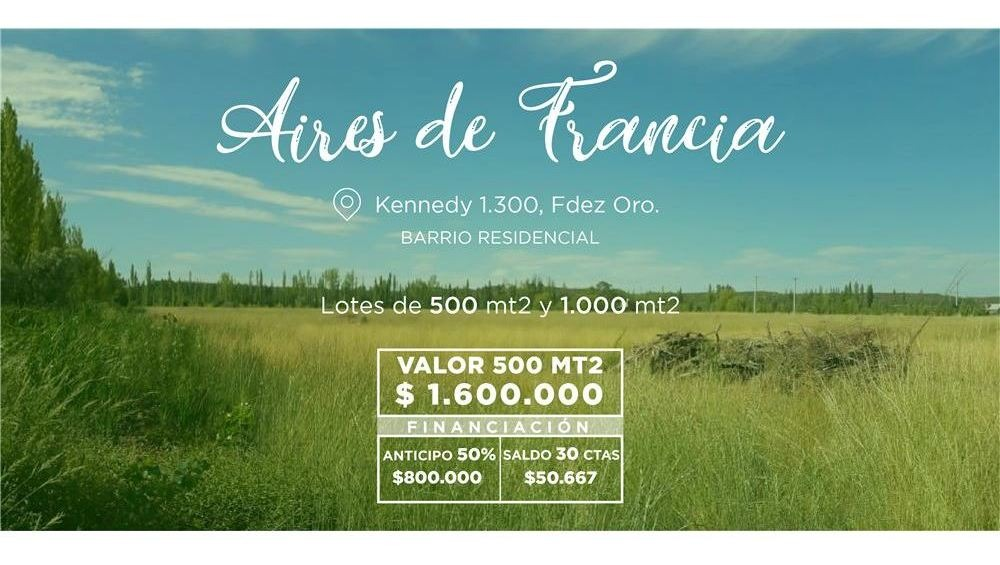 terreno en venta  aires de francia fdez oro 500m2