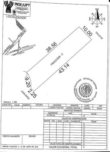 terreno en venta conkal 68,  fracción 3