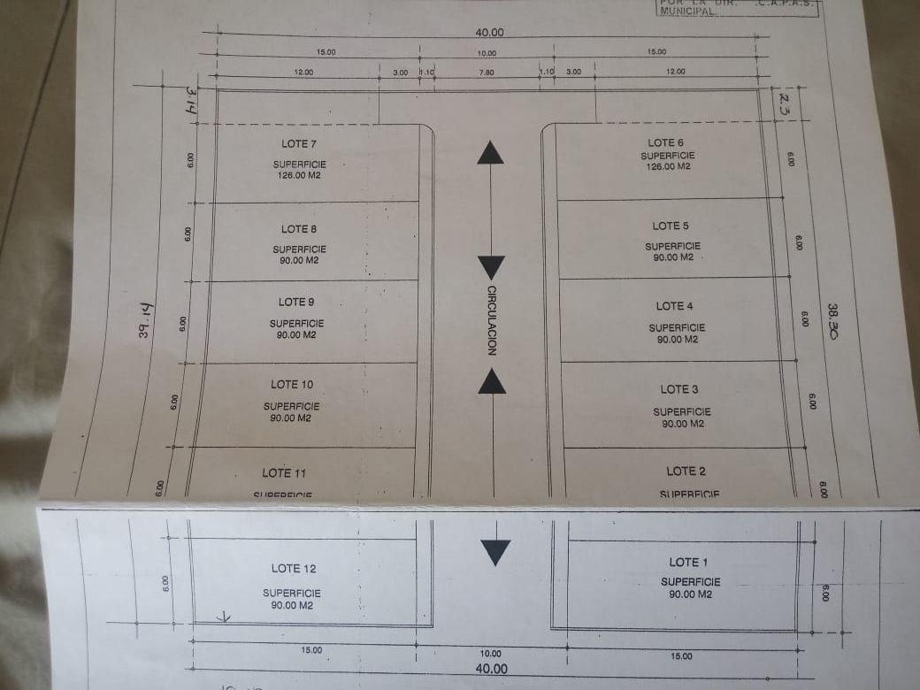 terreno en venta de 1550 m2 en jesús maría, subdividido en 12 lotes de 90 mts.