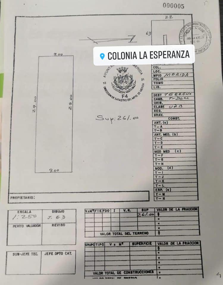 terreno en venta en col. esperanza merida yuc folio mtv-210