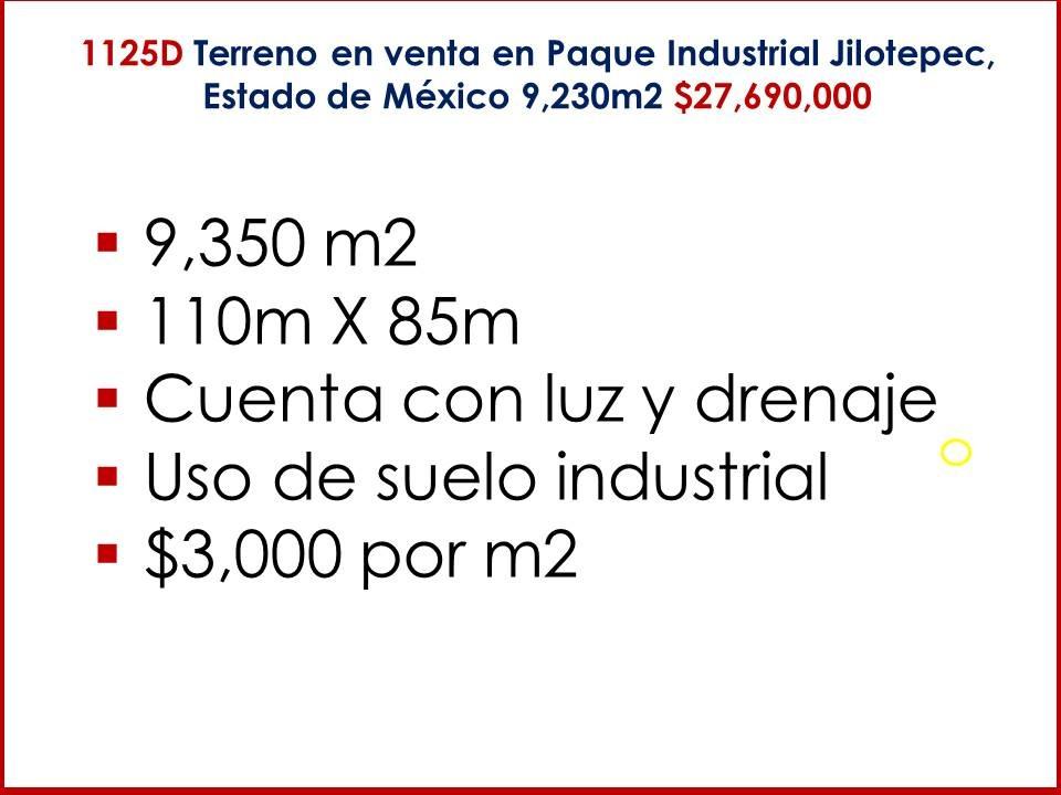 terreno en venta en parque industrial jilotepec,  estado mex