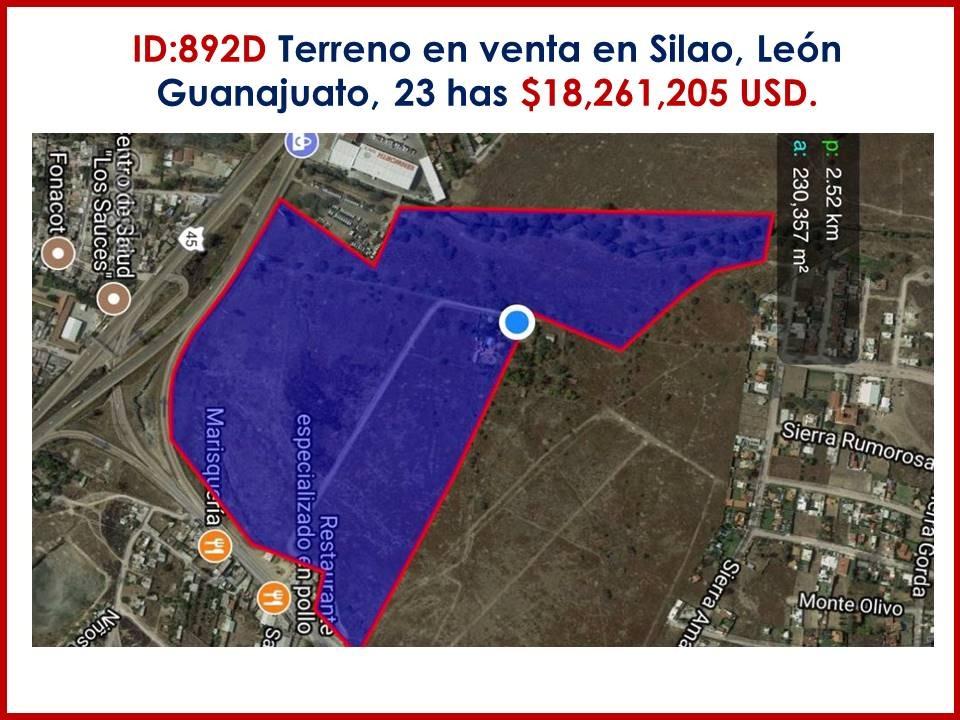 terreno en venta en silao, guanajuato  90 dls m2 id: 892d