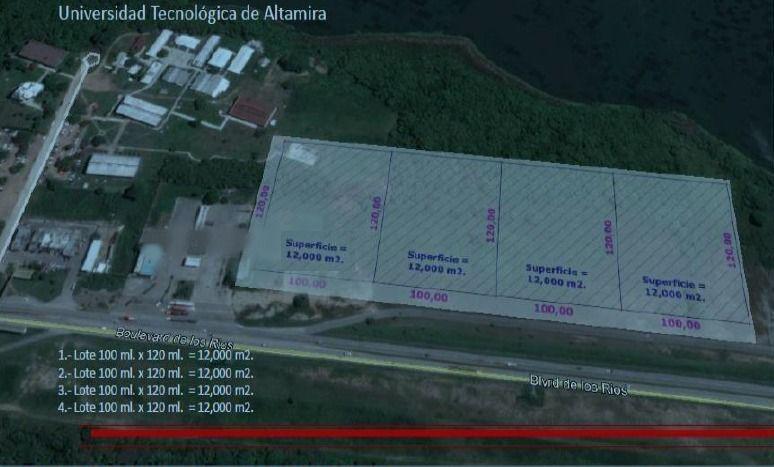 terreno en venta industrial en blvd de los ríos, altamira