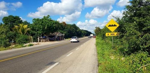 terreno en venta sobre carretera en la colonia manuel antonio tulum