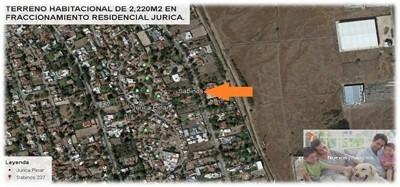 terreno habitacional de 2,220m2 en jurica, querétaro.