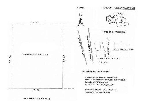 terreno habitacional en venta en pedregal de guadalupe hidalgo, ocoyoacac, méxico