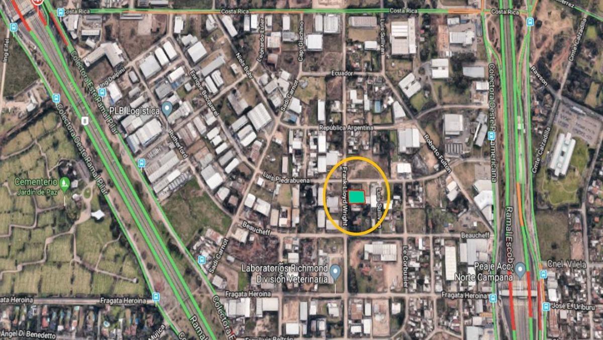 terreno industrial 1.300 m2 calle wright - area de promoción el triángulo - malvinas argentinas
