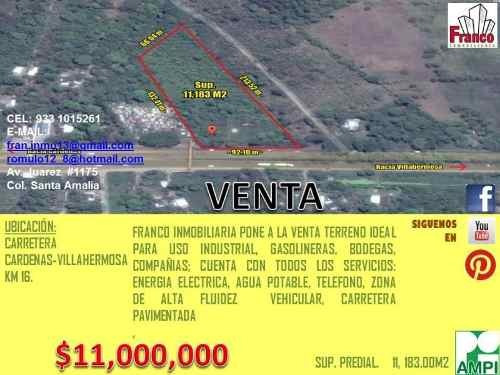 terreno industrial en venta carretera cardenas- villahermosa