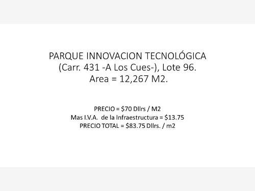 terreno industrial en venta parque innovación tecnológica