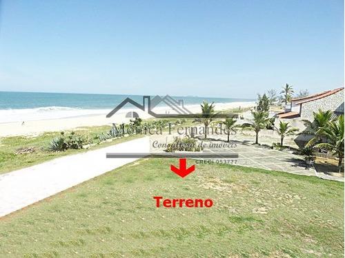 terreno murado, plano, frente praia em maricá