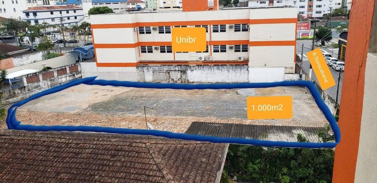 terreno para alugar, 1000 m² por r$ 12.000/mês - centro - são vicente/sp - te0002