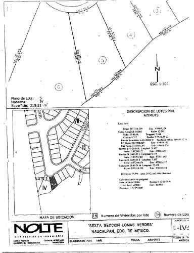 terreno residencial en la 6ta. seccion de lomas verdes e.g