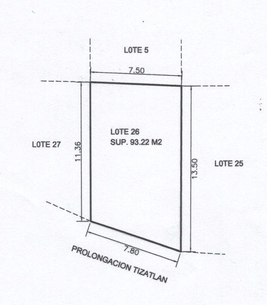 terreno residencial en venta, prolongación tizatlán, col. nueva imagen