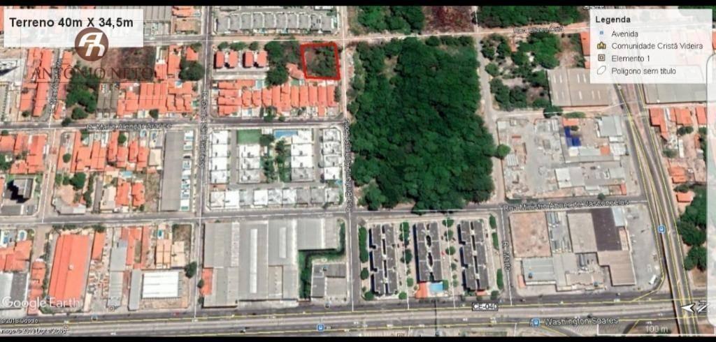 terreno à venda, 1380 m² por r$ 580.000,00 - edson queiroz - fortaleza/ce - te0023