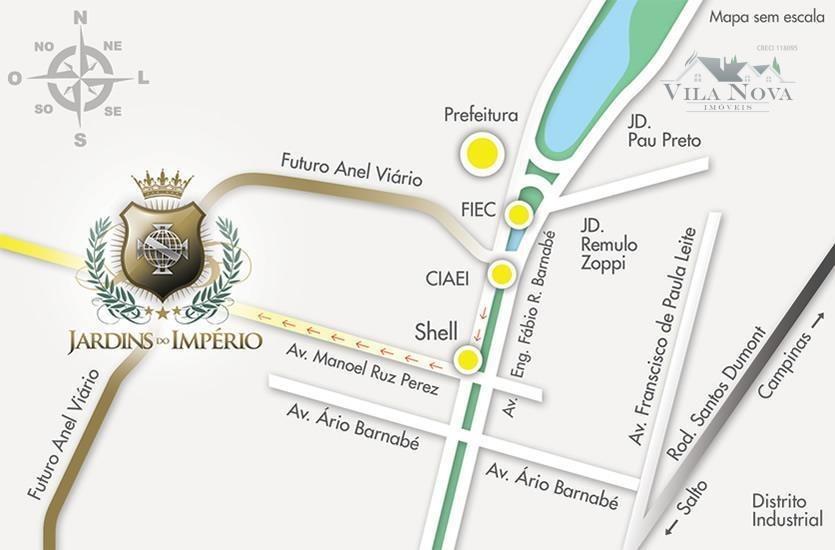 terreno à venda, 150 m² por r$ 160.000 - jardins do império - indaiatuba/sp - te0306