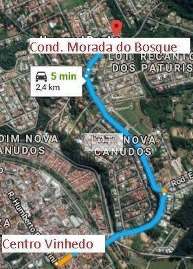 terreno à venda, 510 m² por r$ 280.000 - condomínio morada do bosque - vinhedo/sp - te1074