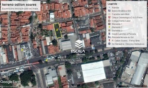 terreno à venda, 709 m² por r$ 500.000 - farias brito - fortaleza/ce - te0226