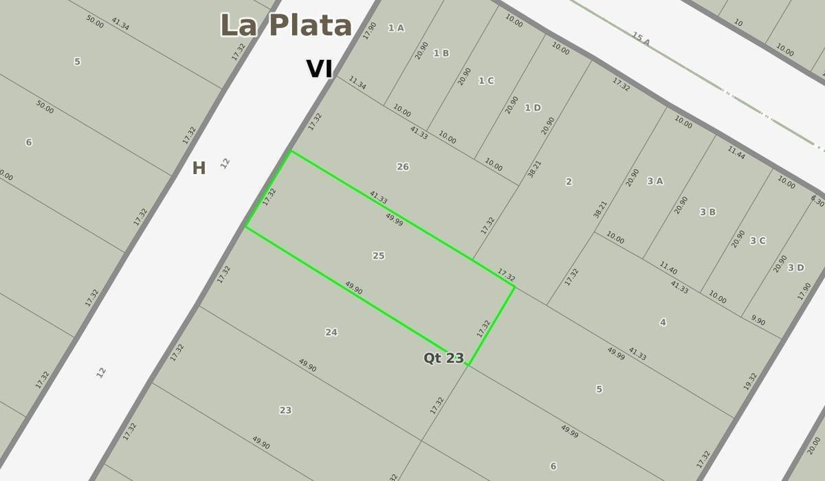 terreno venta 17,32 x 49,99 mts-866 mts 2 -city bell -entre caminos- la plata