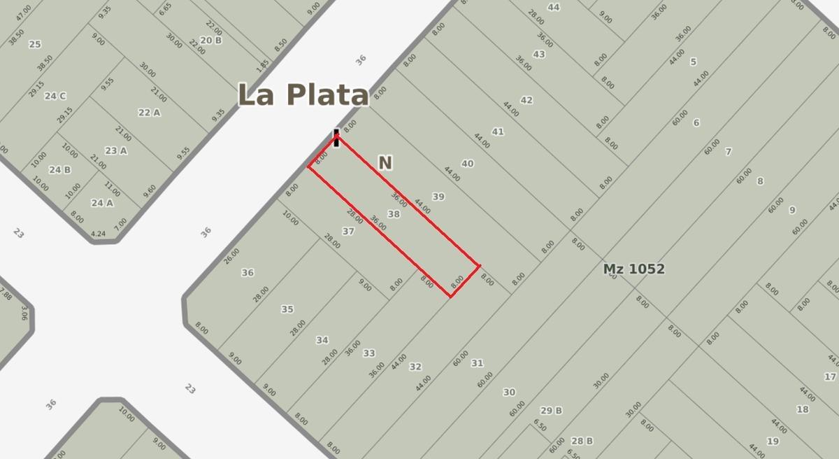 terreno venta 8 x 36 mts -288 mts 2 - la plata