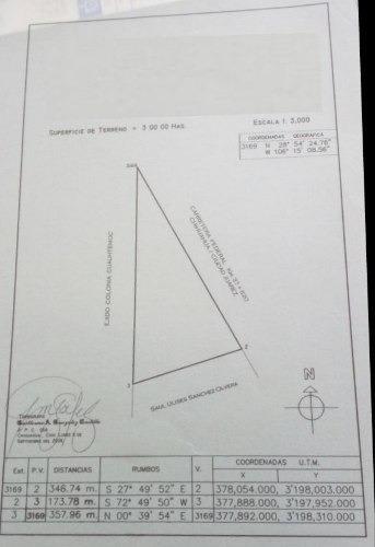 terreno venta carretera chihuahua-juárez $800 x m2 noecha gl7