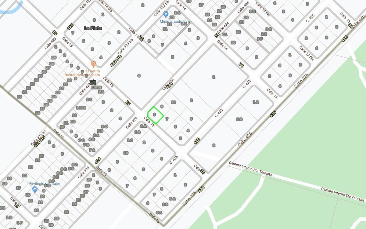 terreno venta en esquina -515 mts 2 -villa elisa