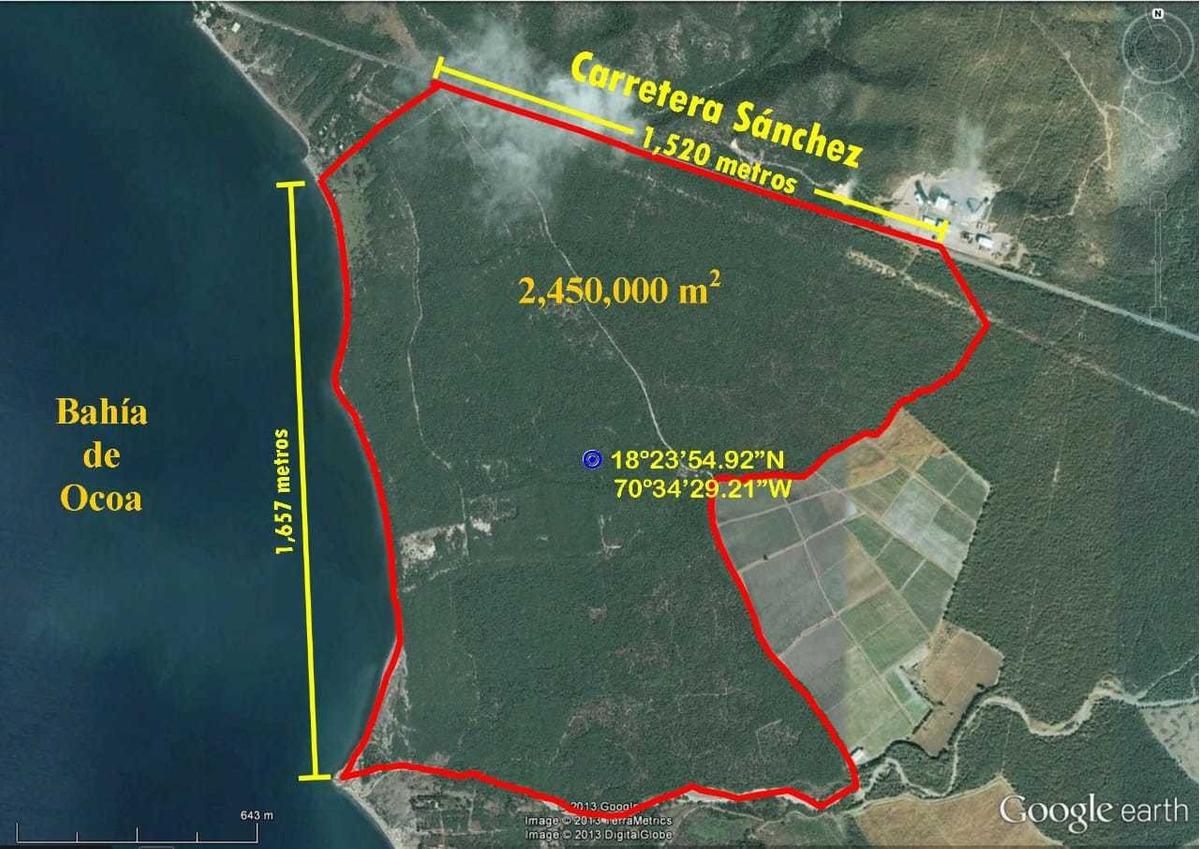 terrenos de 2,450,000 mt2 turísticos en la bahía de ocoa